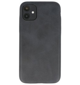 Leder Design TPU cover voor iPhone 11 Zwart