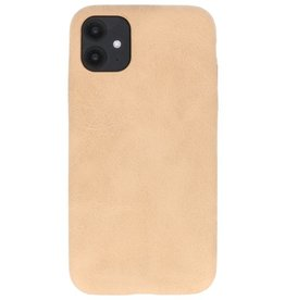 Leder Design TPU cover voor iPhone 11 Beige