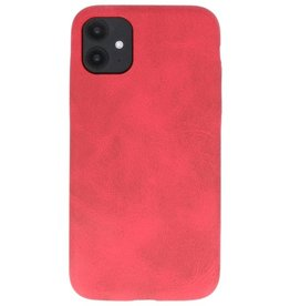 Leder Design TPU cover voor iPhone 11 Rood