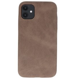 Leather Design TPU cover for iPhone 11 Dark Brown
