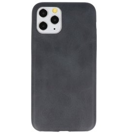 Leder Design TPU cover voor iPhone 11 Pro Zwart