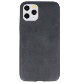 Leder Design TPU Hülle für iPhone 11 Pro Schwarz