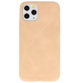 Leder Design TPU cover voor iPhone 11 Pro Beige