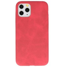Leder Design TPU cover voor iPhone 11 Pro Rood