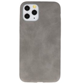 Leder Design TPU cover voor iPhone 11 Pro Grijs