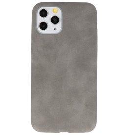 Leder Design TPU Hülle für iPhone 11 Pro Grau