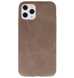 Leather Design TPU cover for iPhone 11 Pro Dark Brown