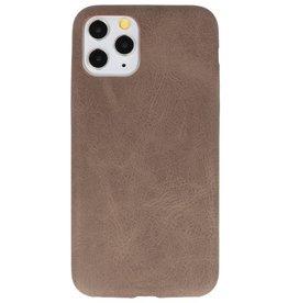 Leder Design TPU Hülle für iPhone 11 Pro Dark Brown