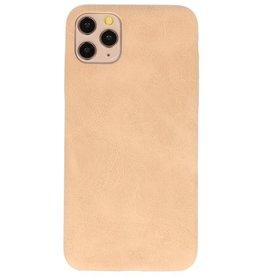 Leder Design TPU cover voor iPhone 11 Pro Max Beige