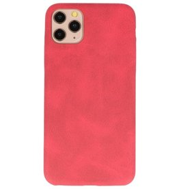 Leder Design TPU cover voor iPhone 11 Pro Max Rood