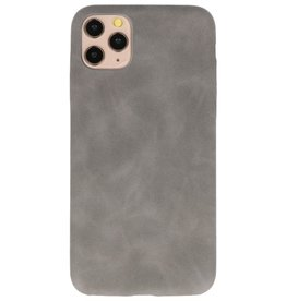Leder Design TPU cover voor iPhone 11 Pro Max Grijs