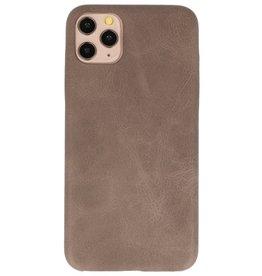 Leder Design TPU Hülle für iPhone 11 Pro Max Dunkelbraun