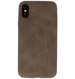 Leder Design TPU Abdeckung iPhone X / Xs Dunkelbraun