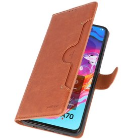 Luxury Wallet Case for Samsung Galaxy A70 Brown