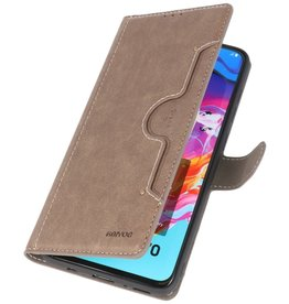 Luxury Wallet Case for Samsung Galaxy A70 Gray