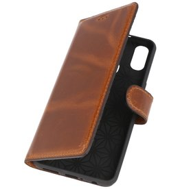 MF Handmade Leather Bookstyle Case Samsung Galaxy A40 Brown