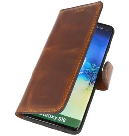 MF Handmade Leather Bookstyle Case Samsung Galaxy S10 Brown