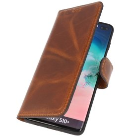 MF Handmade Leather Bookstyle Fall Samsung Galaxy S10 Plus Brown