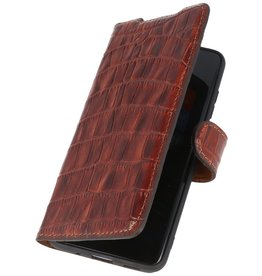 MF Crocodile Handmade Ledertasche Samsung Galaxy S20 Plus Brown