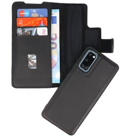 MF Handmade 2 in 1 Leather Book Type Case for Samsung Galaxy S20 Black