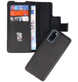 MF Handmade 2 in 1 Leer Booktype Hoesje voor Samsung Galaxy S20 Zwart