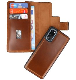 MF Handmade 2 in 1 Leather Book Type Case for Samsung Galaxy S20 Brown