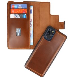 MF Handmade 2 in 1 Leather Book Type Case for Samsung Galaxy S20 Plus Brown