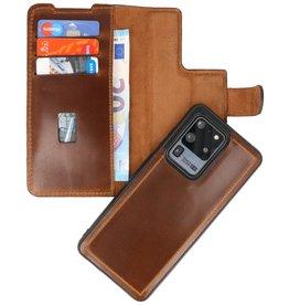 MF Handmade 2 in 1 Leder Buch Typ Fall für Samsung Galaxy S20 Ultra Brown
