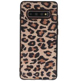 Luipaard Leer Back Cover Samsung Galaxy S10 Plus