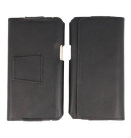 MF Handmade Leder horizontale Einkaufstasche Größe L Schwarz