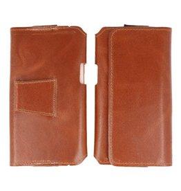 MF Handmade Leather Horizontal Tote Bag Size L Brown
