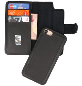 MF Handmade 2 in 1 Leather Book Type Case for iPhone SE 2020/8/7 Black