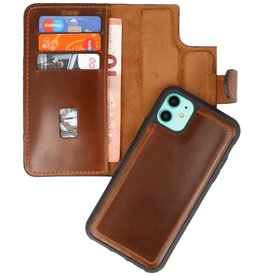 MF Handmade 2 in 1 Leather Book Type Case for iPhone 11 Brown