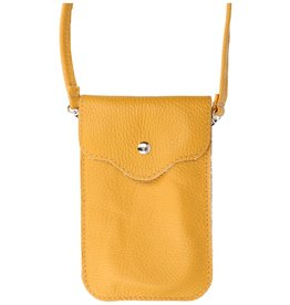 Genuine Leather Shoulder Bag - Yellow