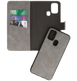 2 in 1 Book Case Cover for Samsung Galaxy A21s Gray