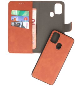 2 in 1 Book Case Cover for Samsung Galaxy M31 Brown