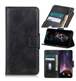 Pull Up PU Leder Bookstyle voor Motorola Moto E7 Plus Zwart
