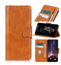 Pull Up PU Leder Bookstyle voor Motorola Moto E7 Plus Bruin