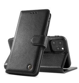 Echt Lederen Hoesje iPhone 12 Pro Max Zwart