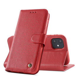 Echt Lederen Hoesje iPhone 12 mini Rood