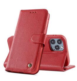 Echt Lederen Hoesje iPhone 12 Pro Max Rood