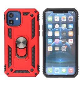 Pantser Hoesje met Ring Houder iPhone 12 Mini Rood