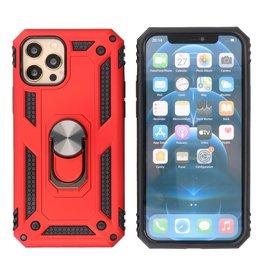 Pantser Hoesje met Ring Houder iPhone 12 Pro Max Rood