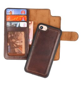 MF Handmade 2 in 1 Leather Bookstyle Case iPhone 8/7 Mocca