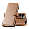 Klassisches Design Echtledertasche iPhone 12 - 12 Pro Cognac
