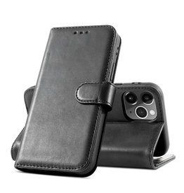 Klassiek Design Echt Leer Hoesje iPhone 12 Pro Max Zwart