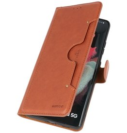 Luxury Wallet Case for Samsung Galaxy S21 Ultra Brown
