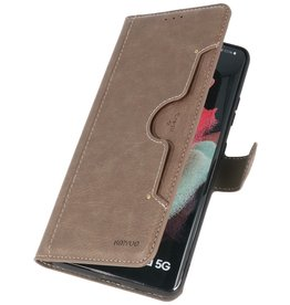 Luxury Wallet Case for Samsung Galaxy S21 Ultra Gray