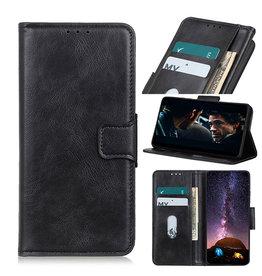 Pull Up PU Leder Bookstyle Case für Samsung Galaxy A12 Schwarz