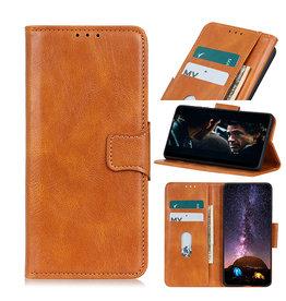 Pull Up PU Leder Bookstyle Case für Samsung Galaxy A12 Brown